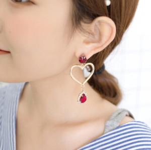 E-4069 Fashion Jewelry Pearl Rhinestone Gem Dangle Earring Gold Plated Heart Shape Women Drop Earrings Gifts