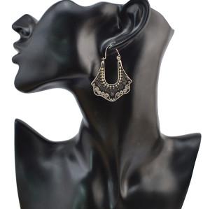 E-4070 Fashion  Retro Silver Plated Carving  Drop Shape Dangle Earrings For women Jewelry