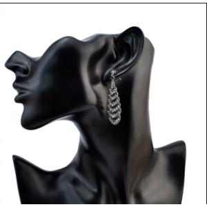 E-4071 Fashion New Arrived Black Shiny Diamante Crystal Teardrop Shape Dangle Drop Ear Charm Jewelry Earring