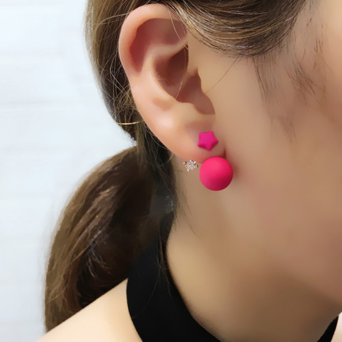 E-4073 5 Colors Fashion Stud Bead Star Crystal Alloy Earring for Women Jewelry