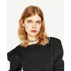 N-6763 3Pcs/Set Punk Style Black Leather  Gold Color Alloy  Chains Round shape Choker Short Necklace  Women Jewelry
