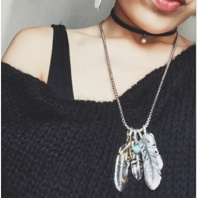 N-6764 3 Styles Punk Chain Necklace Leaf Pendants Eagle Claw Turquoise Beads Necklace for Women Men