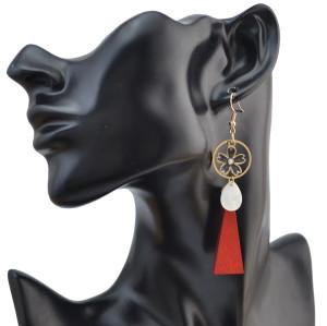 E-4076 Bohemian Vintage Gold Pendant Flower Wood Dangle Earrings for Women Jewelry
