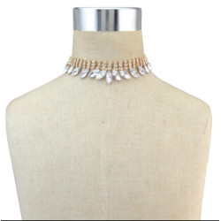 N-6768 2 Color Silver Gold plate Shiny Diamante Crystal Choker Necklace Boho Short Necklace For Charm Woman