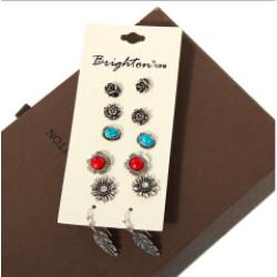 E-4079 6 Pairs /Set Cute Elephant Flower Sector Shape Stud Earrings For Women Crystal Resin Beads Earrings Sets Wholesale