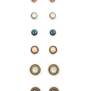E-4078 2 STYLE 6 PAIRS /SET SHINY DIAMANTE PEARL ROUND SHAPE CRYSTAL STUD EARRINGS FOR CHARM WOMEN JEWELRY WHOLESALE