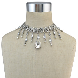 N-6766 Bohemian Style Silver Metal Hollow Out Flower Chain Droptear Crystal Tassel Necklace