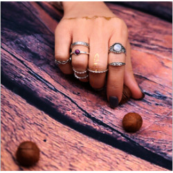 R-1435 9pcs/set Bohemian Vintage Silver Knuckle Ring Sets Antique Midi Finger Rings for Women Jewelry