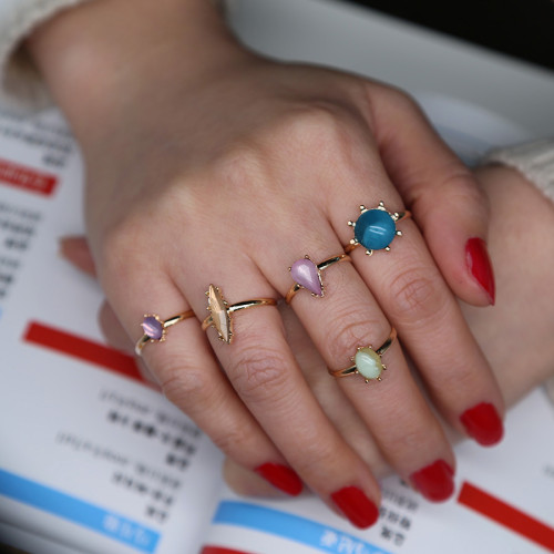 R-1438 2 Colors shiny Gold Silver Plated diamante Ring Sets Antique Midi Finger Rings for Women Jewelry