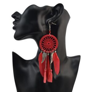 E-4082 New Arriva Bohemian  Feather Beads Tassels Long Drop Dangle Earrings For Women