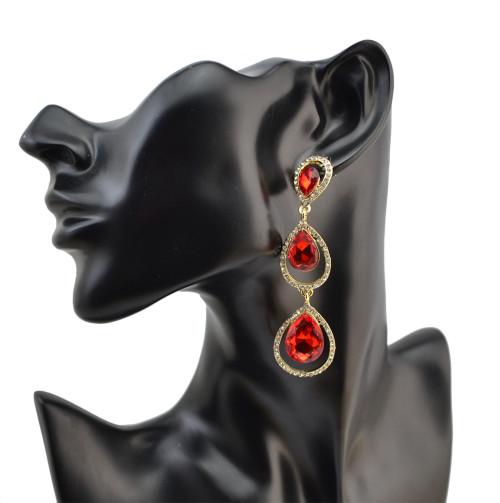 E-4083 New Luxury  Crystal Silver Plated Bridal Earrings Imitation Gemstone Jewelry Long Earrings for Women
