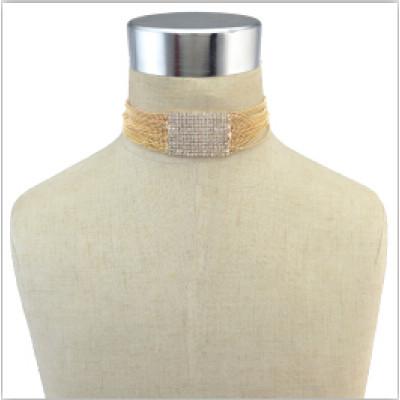 N-6777 Luxury Rhinestone Crystal Choker Statement Necklace Multilayer Wedding Beads Necklace Fashion Jewelry