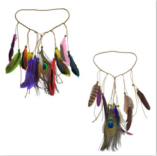 F-0404 Handmade Ethnic Tribal Gypsy Turkish 2 Colors Rope Wood Beads Feather Hairband Hair Clip Hair Jewelry For Women & Girls Jewelry
