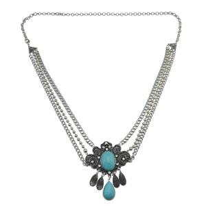 N-6780 Bohemian Fashion Women Silver Plated Chain waist  Turquoise  Beach Waist  Body Chain