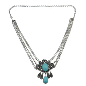 N-6780 Bohemian Fashion Women Silver Plated Chain waist  Turquoise  Beach Waist  Body Chain
