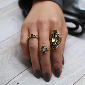 R-1439 3pcs/set Bohemian Vintage Gold Plated Crystal Rhinestone Finger Midi Knuckle Ring For Women Rings Jewelry
