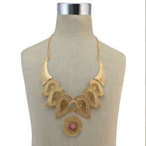 N-6785 2 Colors Bohemian Fashion Women Silver Gold Plated Chain Turquoise  Diamante Pendant Women Necklace