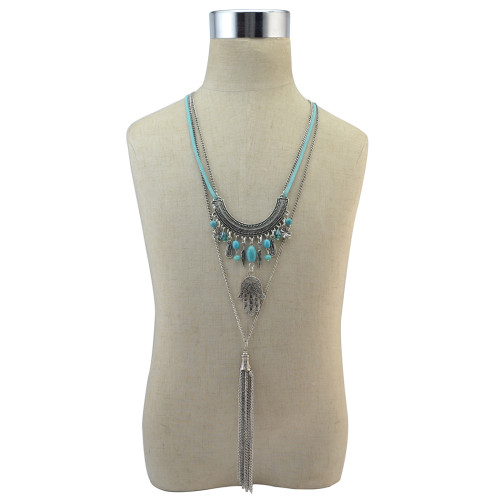 N-6786 Bohemian Retro Silver plated Turquoise Tassel Chain Leather Necklace for Women Jewelry