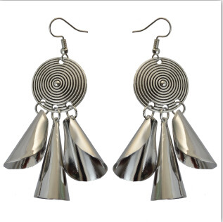 E-4085 4 Style Fashion New Arrived Silver Round Drop Dangle Ear Pendant For Charm Woman Jewelry Earring