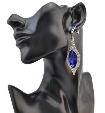 E-4087 5 Colors Luxury Women Zircon Crystal Drop Earring Silver Plated Teardrop Shape Party Earrings Birthday Gift
