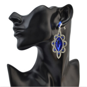 E-4086 2017 New Luxury Big Crystal Silver Plated Bridal Earrings Full Rhinestone Jewelry Long Earrings for Women