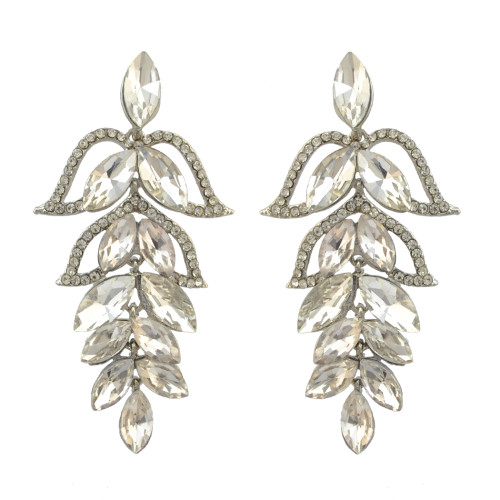 E-4088 New Luxury  Crystal Silver Plated Bridal Earrings Imitation Gemstone Jewelry Long Earrings for Women