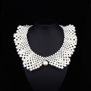 N-2052 White Pearl Collar Necklace