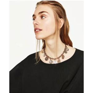 N-6799 Retro Boho Tribal Tassel Chain Pendant Choker Necklace  for Women