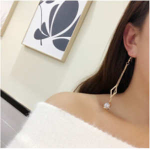 E-4092 2 color Fashion Gold Plated Tassel Earring Beads Chain Dangle Long Earrings for Women Jewelry