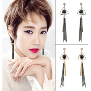 E-4090 Fashion Women Gold Silver Plated Tassel Dangle Drop Earrings Long Line Ethnic Earring Boho Party Jewelry