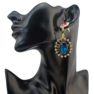 E-4094 5 Styles Fashion Luxury Crystal Rhinestone Charm Drop Stud Earring for Women Jewelry