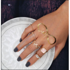 R-1443 5pcs/set 2 Colors Bohemian Vintage Gold Silver Plated Crystal Rhinestone Finger Midi Knuckle Ring For Women Rings Jewelry