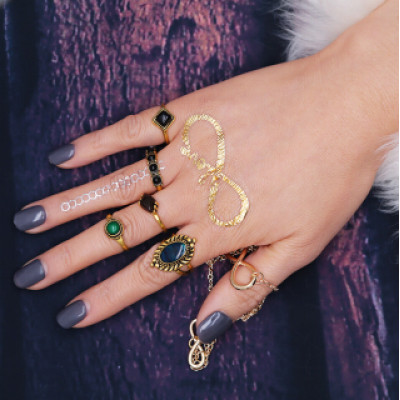 R-1440 5pcs/set Bohemian Gold Plated Midi Finger Ring Sets Vintage Ethnic Rhinestone Women Knuckle Rings
