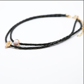 N-6804 New Fashion Black leather Chain Gold Plated Alloy Pearl Choker Necklace Collar Clavicle Chain