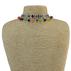 N-6808 Handmade Bohemia Choker Necklace Woven Plush Ball Pendant Ethnic Collar Choker Necklace For Women
