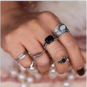 R-1445 6pcs/set Bohemian Silver Plated Midi Finger Ring Sets Vintage Ethnic Women Knuckle Rings