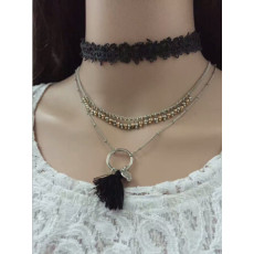 N-6809 3Pcs /Set Black Pink Thread Tassel Pendant Necklaces For Women Boho Fashion Lace Choker Necklace Jewelry