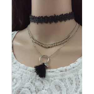 N-6809 3Pcs /Set Black Pink Thread Tassel Pendant Necklaces For Women Boho Fashion Lace Choker Necklace Jewelry