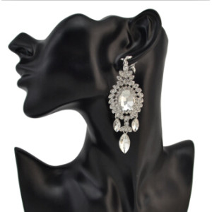 E-4096 Fashion Trendy Women Italina Style Silver Plated Full Rhinestone crystal  Drop Dangle Earrings