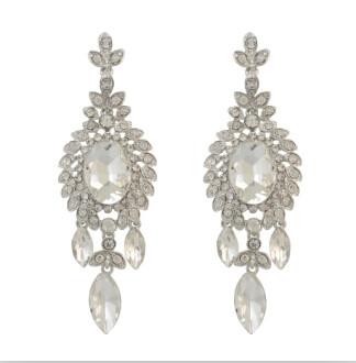 E-4096 Fashion Trendy Women Italina Style Silver Plated Full Rhinestone crystal  Drop Dangle Earrings