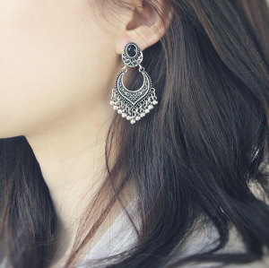 E-3944 Fashion Bohemian Vintage Gold Silver Plated Carving  Drop Shape Dangle Earrings For women Jewelry