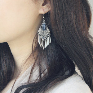 E-3942 Bohemian Silver Gold Fashion Earring Inlay Gem Tassels Earrings For Women Jewelry