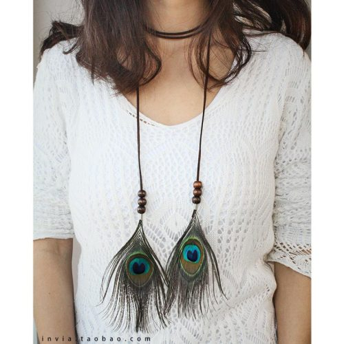 F-0357 Boho  Style Brown Leather Chain Wooden Beads Long Tassel Peacock Feather Hairbands  Women Hair  Accessory  jewelry