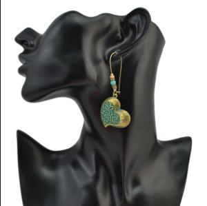 E-4099 Fashion Vintage 2 Style Bronze Turquoise Beads Heart Leaves Drop Dangle pendant Women Charm Earring