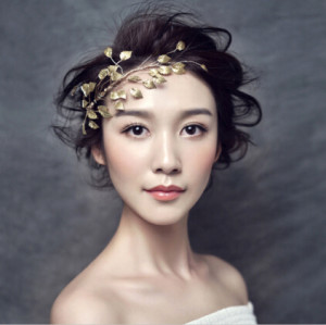 F-0410 Fashion Headband Gold Plated Leaf Hair Chain Metal Leaf Hairband For Women Girl Hair Accessories