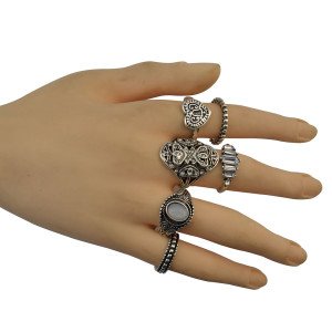 R-1446 6 Pcs/set Fashion Gypsy  Vintage Silver Plated Crystal Beads Ring Set For Women Jewelry