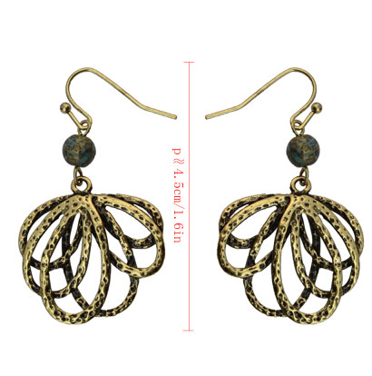E-4103 Bohemian Vintage Gold Silver Plated Long Drop Earring Women Party Flower Earrings Fashion Jewelry
