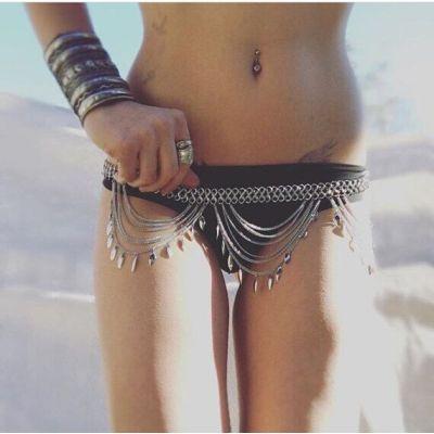 N-6155  Boho silver gold metal bead chain tassel body jewelry sequins charms sexy biniki waist belly beach tribal jewelry