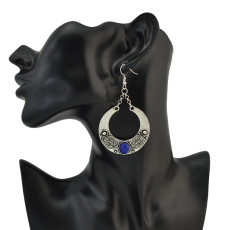E-4107 4Color Antique Silver Plated Big Circle Round Gemstones Dangle Drop Earrings For Women