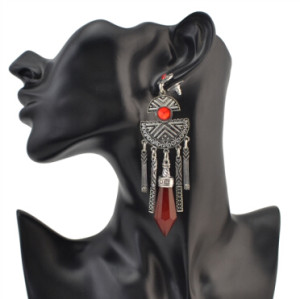 E-4104 Boho Vintage Red Gems Pendant Dangle Earrings for Women Silver Plated Alloy Hook Earring